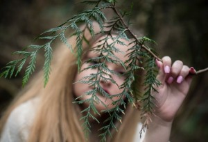 girl with branch