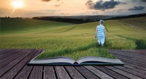 grass and book